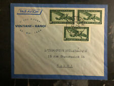 1939 Vientiane Laos Trial Flight Cover to Hanoi Vietnam Air France 150 Flown FFC