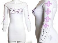 Sinful AFFLICTION Womens Sweater Dress Top ELECTRA Rhinestones WHITE Biker $98
