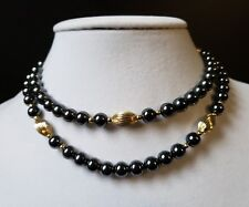 """31"""" Hematite Round Bead No Clasp Necklace with Gold Accent Meatal Beads"""