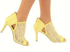 New Ladies Medium Heel Satin Lace Party Wedding Bridal Evening Court Shoes Size