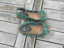 RARE CHAUSSURES COMPENSEES CLARKS T 36 CUIR VERT HIPPIE VINTAGE COLLECTOR 20€ A