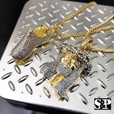 "Men's Brass Hip Hop 14K gold PT Yeezy Shoe & Jesus Pendant W/ 2mm 24"" Box Chain"