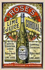 Rose's Lime Juice Cordial Vintage Advertising Art Print / Poster