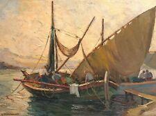 Les Tartanes En Méditerranée / Huile Sur Toile De Lucien Potronat (1889-1974)