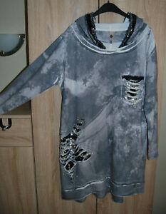 Tredy Sweatshirt-Kleid-Tunika Gr.46/48 grau mit Wendepailletten/Wie Neu!