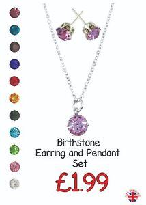 Birthstone Earrings & Necklace Set. Birthday. Horoscope. Great Gift.