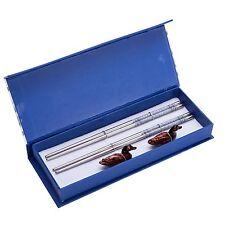 4 (2 pairs) Silver Stainless Steel Chopsticks & Mandarin Duck Holders Set In ...