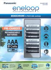 8x Panasonic Eneloop AAA 800mAh Monochrome NiMH Rechargeable Batteries -4th Gen