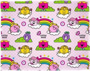 Mr Men & Little Miss Rainbow Rotary Fleece Blanket LARGE SOFT KIDS GIRLS PINK