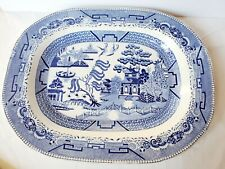 "Blue Willow Serving Platter Turkey 17.5"" X 13.75"""