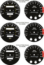 HONDA VF750C SUPER MAGNA BLACK WHITE SPEEDO TACH REV COUNTER GAUGE DIAL OVERLAYS