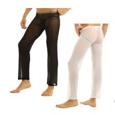 Mens Comfortable Mesh Pants Loose Lounge Trousers See-through Sheer
