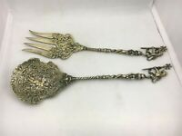 Serving Fork Spoon Italy Salad Ornate Utensils Lions Scepters Cherub Knight