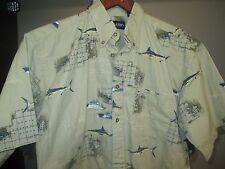 Hawaiian Shirt-Puritan-M- Deep Sea Fishing Theme-Nwot- Maps/ Boats/Deep Sea Fish