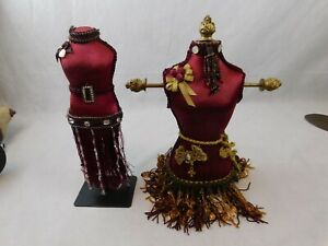 """2 Vintage Doll Dress Form Mannequin Miniature Display Red Beaded 10"""" Jewelry"""