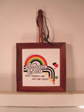 """Where Rainbows End & Love Begins"" Niagara Falls Decorative Trivet Wood Ceramic"