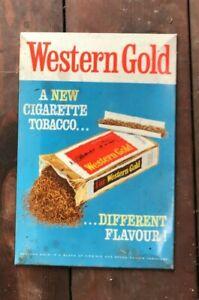 Vintage Original Antique Western Gold Tobacco Tin Sign from West Sussex Find