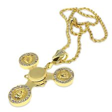 New Gold Plated Lion Fidget Spinner Pendant iced out rope chain necklace bling