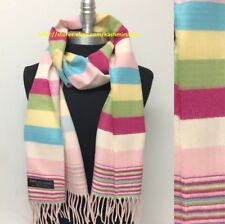 Lady Women 100%CASHMERE SCARF SCOTLAND SOFT Wrap Stripe Pinks/green/blue/yellow