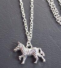 """AFRICA Zebra (30*20mm) Tibetan silver charm pendente, lunga collana con catena 30"""""""