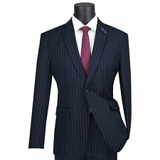 VINCI Men's Navy Blue Gangster Pinstripe 2 Button Slim Fit Suit NEW
