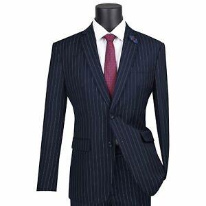 VINCI Men's Navy Blue Gangster Pinstripe 2 Button Slim Fit Suit NEW