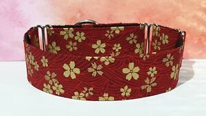 red cherry blossom . 40mm full Martingale Collar. Greyhounds