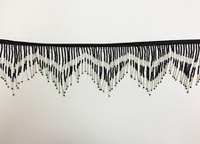 "6"" Black/Silver Glass Seed Bugle Beaded Fringe Chevron Lamp Costume Trim by Yard"