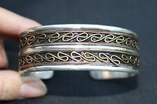 Huge Tibetan 2-layer Brass Threads Delicately Braided Weaving Cuff Bracelet