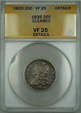 1835 Capped Bust Silver Quarter 25c Coin ANACS VF-25 Details Cleaned