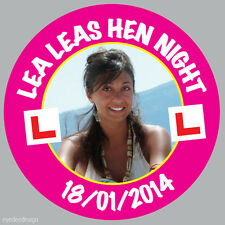 35 x Personalised Hen Party Night Photo Stickers 37mm BUY 2 GET 1 FREE -032