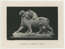 ANTIQUE LION LIONESS IN LOVE ARTIST C VALTON MINIATURE SCULPTURE ART PRINT