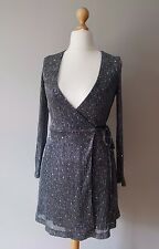 TOPSHOP Metallic Silver Glitter Wrap Mini Dress Party Bling Going Out Size 8/36