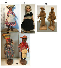 Antique 1930's Vintage Souvenir Dolls in Traditional costume outfit