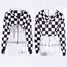 Women Gothic Punk Hoodie Sweatshirt Jumper Sweater Crop Top Casual Pullover Tops