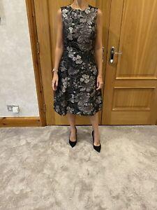 Dolce & Gabbana Black/silver/Grey Floral Metallic Dress/IT 42/UK 10