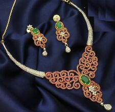 DESIGNER BRIDAL LOOK RUBY EMERALD CZ NECKLACE EARRINGS +A FREE GIFT