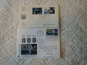 1969 FIRST MAN ON THE MOON USA FIRST DAY COVER + Space Ascension island 1975 FDC
