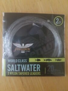 Fenwick World Class Saltwater 2 Nylon Tapered Leaders 20 Lb 2ct. Fishing