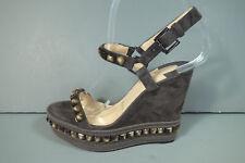 Louboutin 36 Cataclou 120 Grey Suede Stud Platform Wedge Espadrilles Sandals