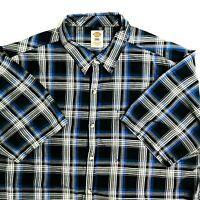 Dickies Mens 3XL Shirt Black Blue Plaid Short Sleeve Work Casual Light 3X-Large