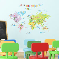 Decowall DW-1203 Multicoloured World Map Wall Stickers