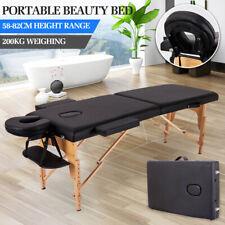 Black Foldable Massage Bed Whole Body Massage Tattoo Health Physiotherapy Beauty