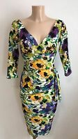 *BEAUTIFUL BLUE FLORAL TEXTURED PLUNGE NECK BODYCON WIGGLE DRESS SIZE 12-18*