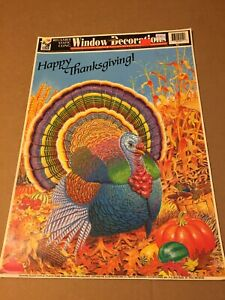 VINTAGE HAPPY THANKSGIVING TURKEY COLOR CLING LARGE!