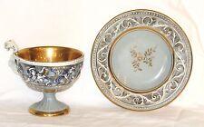 Vintage Ardalt Mermaids & Dragons Mythology Tea Cup & Saucer Blue & Gold 1940's
