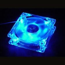 Blue Quad 4-LED Light Neon Quite Clear 80mm PC Computer Case Cooling Fan Mod