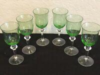 "6 KROSNO DENBY  AURORA WINTERBERRY GREEN 12 OZ, 7 1/2"" WINE GLASSES POLAND"