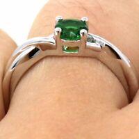 Large 1Ct Round Green Emerald Ring Women Wedding Jewelry Gift 14K White Gold