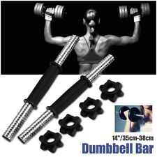 "2X 14"" Chrome Dumbbell Bar Solid Steel Weight Lifting  + 4 Vinyl Spinlock Collar"